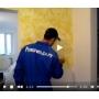 Нанесение на стены декоративного покрытия с текстурой песка видеосюжет с места проведения работ