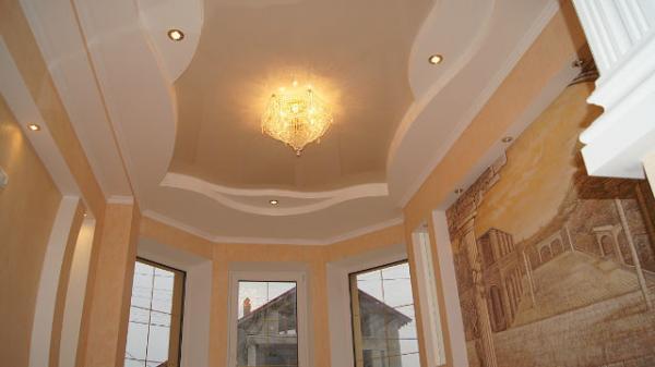 Потолки из гипсокартона фото в зале в частном доме своими руками фото