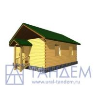 Дом деревянный 6x8 Площадь-43,89 кв.м. из простого бруса