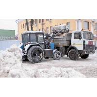 Уборка и вывоз снега. Очистка территории от снега трактором