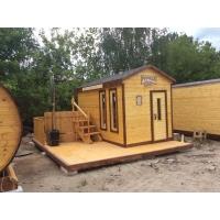 Мы строим готовые мобильные бани под ключ: каркасные, из бруса, бани-бочки.