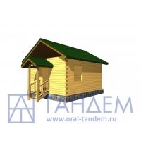 Дом деревянный 5x6 Площадь - 44,89 кв.м. из простого бруса