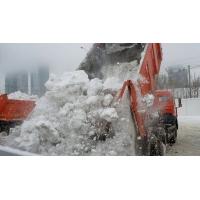 Утилизация снега на полигоне. Самосвалы, погрузчики