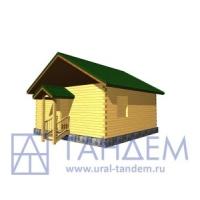 Дом деревянный 7x7 Площадь - 44,89 кв.м. из простого бруса