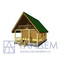 Дом деревянный 6х6 Площадь - 50 кв.м. из простого бруса