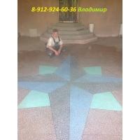 Пол бетонно-мозаичный, пол из мраморной крошки, стяжка, наливной
