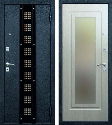 входные двухсторонние металлические двери с зеркалом внутри