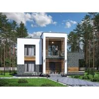 «Футура» - современный двухэтажный дом с плоской кровлей Альфаплан 581A