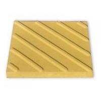 Тактильная плитка с диагональными рифами 50х50х5 желтая