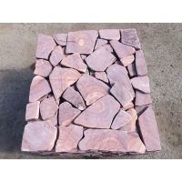 Песчаник галтованный Розовый с разводом камень натуральный приро