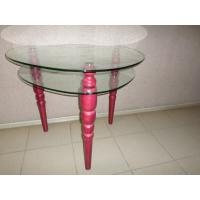 Стеклянный стол с деревянными ножками PSteklo