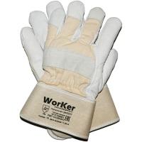 Перчатки комбинированные кожаные утепленные, искусственный мех WorKer