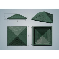 Колпак (оголовок, крышка) на заборный столб 385х385х180 СибТопПром КЗ-385 «Гибкая черепица» зеленый