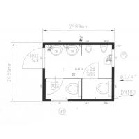 """Сантехнический блок - модуль (туалет """"М"""") CONTAINEX SA10'"""