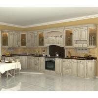 Кухня «Дворянское гнездо» фасад массив Ясеня с патиной Гармония-Мебель цена за п.м.