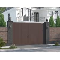 Распашные ворота в алюминиево раме с заполнением сэндвич-панелей DoorHan