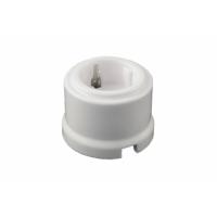 Керамическая ретро розетка с заземляющим контактом, цвет: белый BIRONI B1- 101- 01