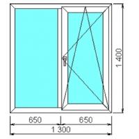 Двухстворчатое окно ПВХ Litex 58мм