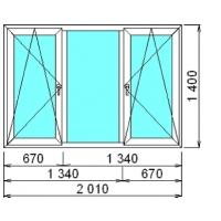 Трехстворчатое окно ПВХ Litex 58мм