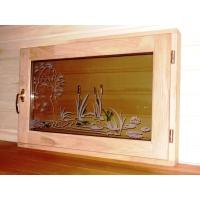 окна в баню из дуба с фьюзингом  Камыши 1