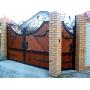 Ворота распашные, ворота откаточн, въездные кованые ворота. Гефест-Барнаул Художественная ковка Барнаул