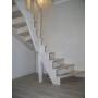 Белая лестница из лиственницы. 2016 год.  Поворотная лестница для дома Калуга